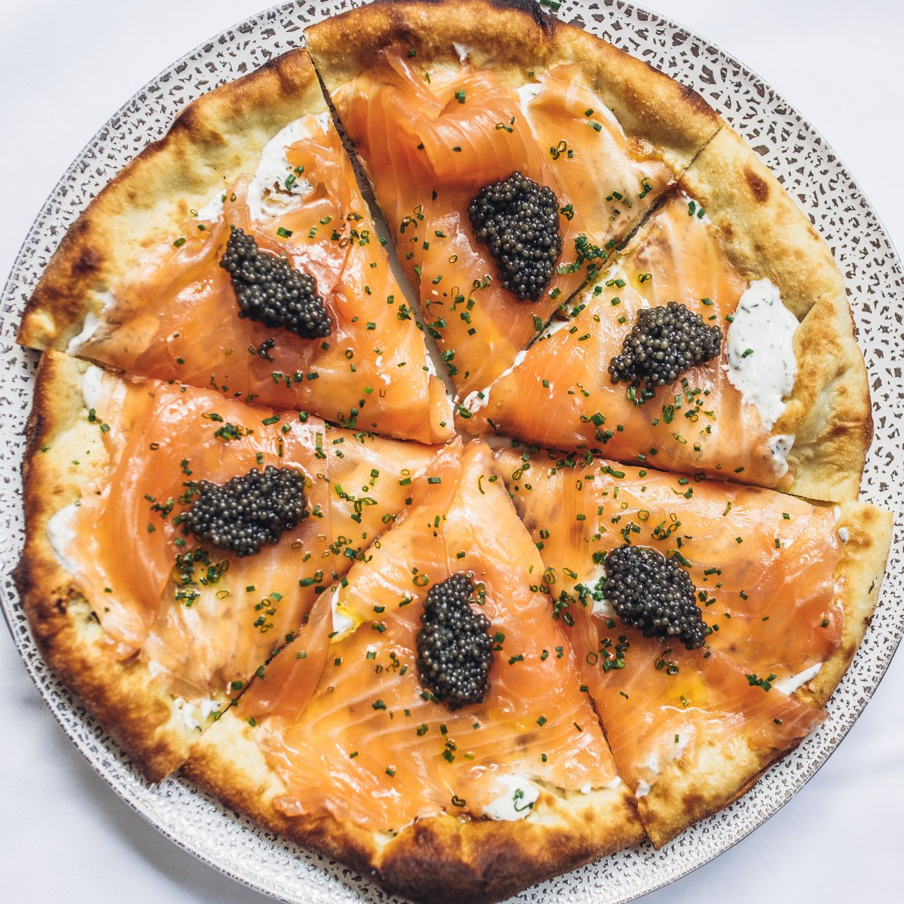 Pizza with House Cured Smoked Salmon @ Spago BH