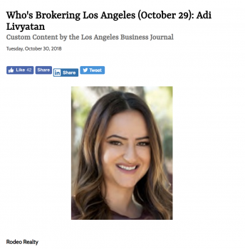 Rodeo Realty's Josh Flagg and Adi Livyatan featured in Los Angeles Business Journal